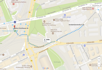 Wegbeschreibung Berliner Tor – Anckelmannstraße